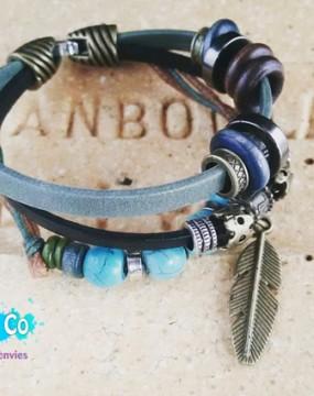 bracelet en cuir avec perles